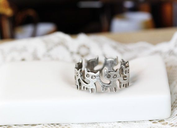 Retro silvertone Kitty Band Ring Cat ring 7.5US by authfashion
