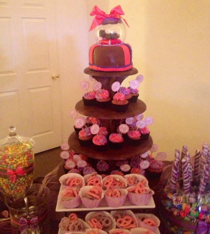 Baby shower cake and cupcakes set up with candy bar by Pan Con Pan in ...