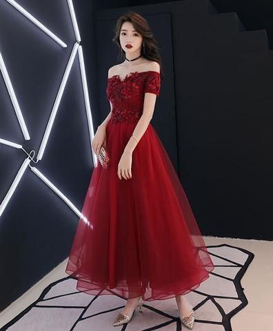 5c5a6f56ae2ad Burgundy tulle lace prom dress, burgundy tulle evening dress in 2019 |  Clothes...etc. | Prom dresses, Dresses, Fashion dresses