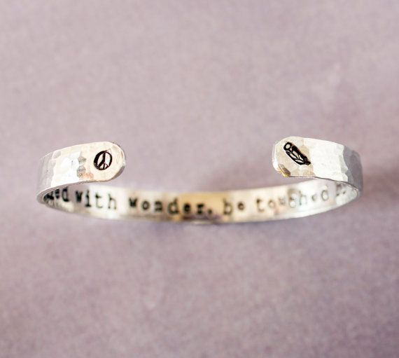Be filled with wonder, be touched by peace, inspirational quote bracelet with feather and peace symbols by ZennedOut