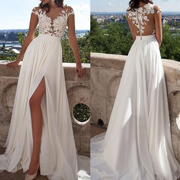 - See Through Lace Prom Dresses, 2017 Long Prom Dresses, Chiffon Prom Dresses, Sexy Prom Dresses, Chiffon Prom Dresses, Prom Dresses Online - Color Shown: White RightBrides, Just as the brand name ind