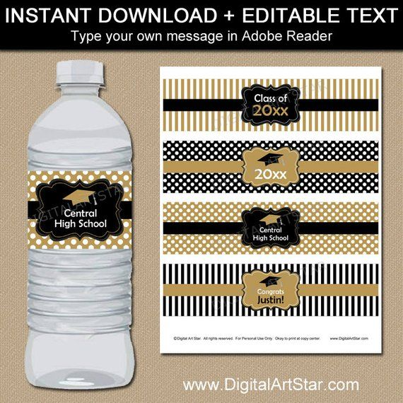 Graduation Water Bottle Label Template Black And Gold
