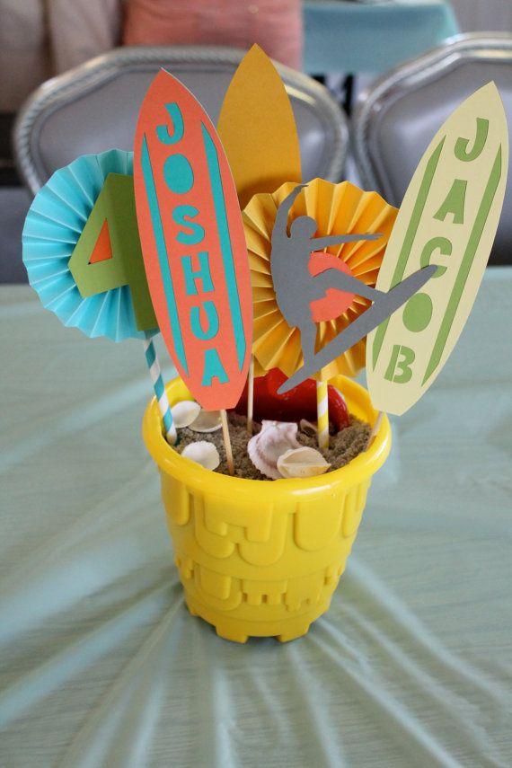 beach party centerpiece / surfer party centerpiece by PaperoStudio