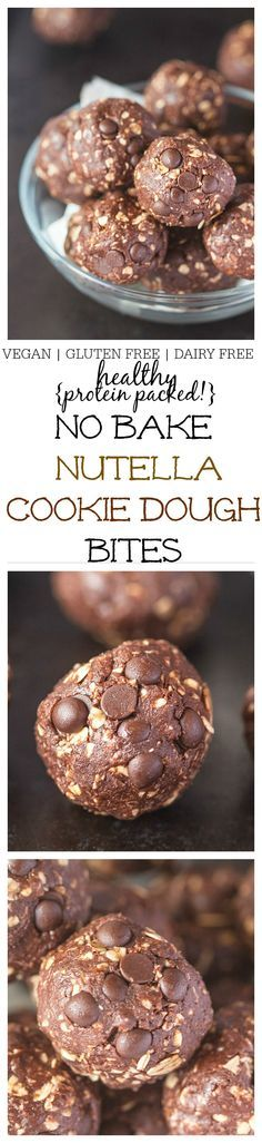 "Healthy {protein packed!} No Bake ""Nutella"" Cookie Dough Bites which are like popable pieces of fudge but so healthy- Ready in 10 and NO REFRIGERATION! {Vegan, gluten free, dairy free}"