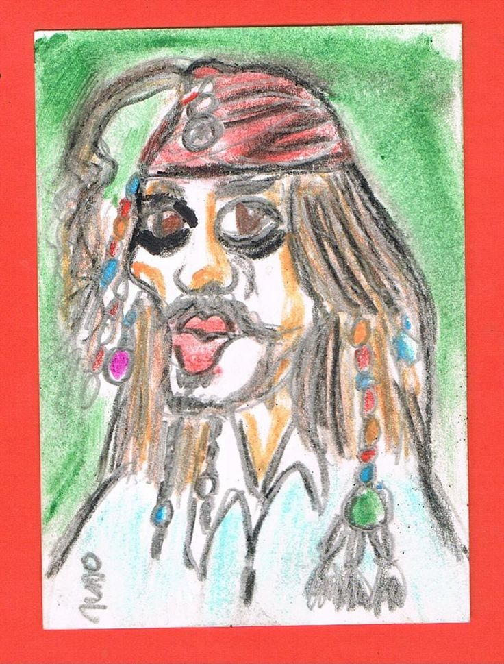 ACEO original Jack Sparrow Pirates of the Caribbean Art Card  Colored Pencils #Miniature