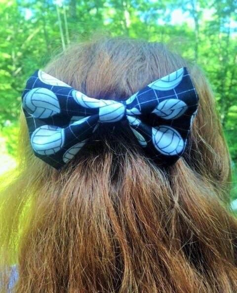 THIS ITEM IS IN STOCK & WILL SHIP THE NEXT DAY! Does your daughter play volleyball or really like unique hair bows? Then this is the bow for her! Inspired by my daughter who plays on the Unified Volleyball Team at her school, I made one for her to wear and her teammates, friends,