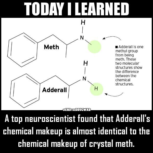 Today I learned: Adderall vs Meth