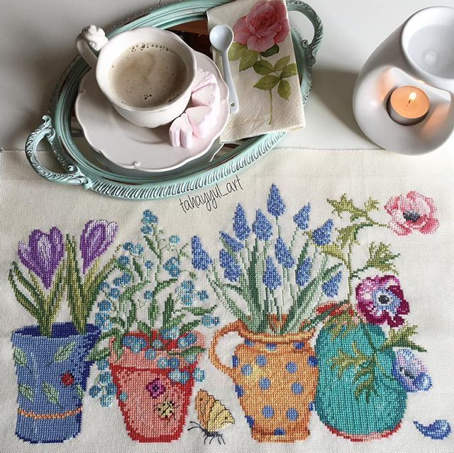Potted flowers, lovely stitchery and detail.