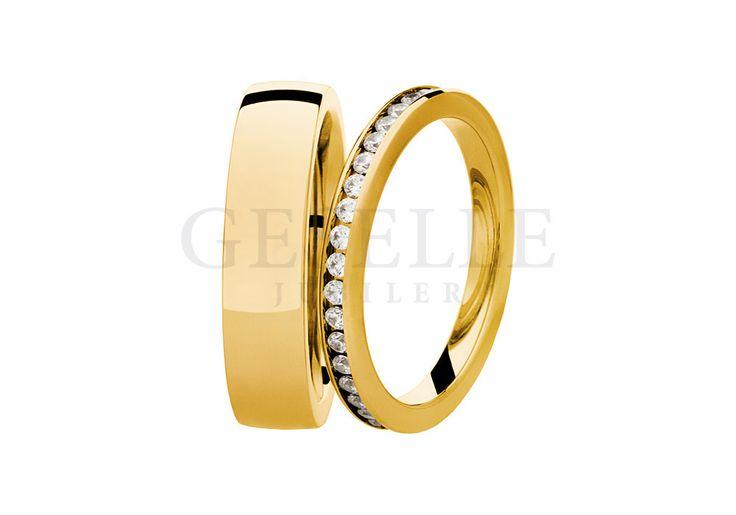 Para obrączek ślubnych z żółtego złota z brylantami 0,58 ct z kolekcji Essence | OBRĄCZKI ŚLUBNE  Żółte złoto  Seria SW od GESELLE Jubiler