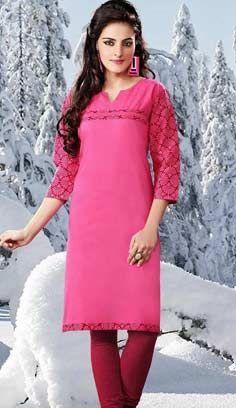 Designer Pink Cotton Kurti Best For Online Shopping