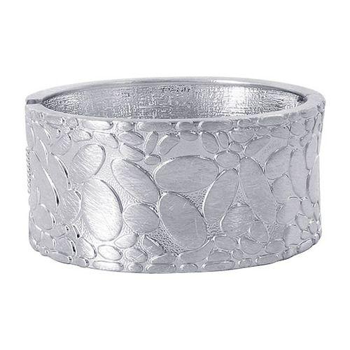 Sterling Silver 1.2 inch wide Scratch Design Bangle Bracelet Size 2.6 #LWBR003