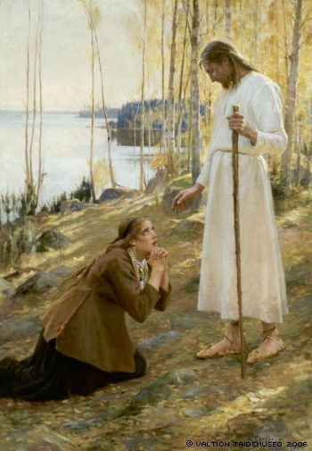 Albert Edelfelt: Christ and Mary Magdalene, a Finnish Legend.1890. Finnish National Gallery