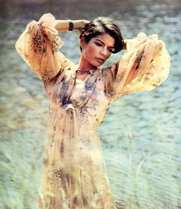 Bianca Jagger in an Ossie Clark original, early 1970s
