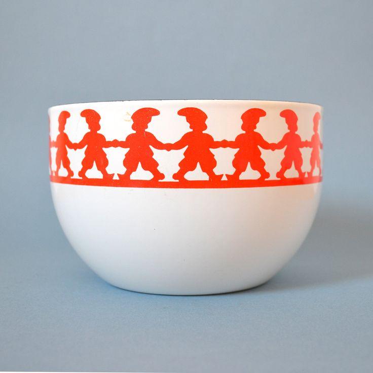 Vintage Kaj Franck Finel - Red Tonttu Enamel Bowl. $80.00, via Etsy.
