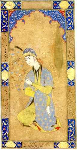 Attributed By Soudavar. 1. This miniature was inspired by another earlier work called Portrait of a Young Woman by Mirza Ali. Mohammadi was a Herat artist who worked for both the Safavi and the Uzbek. This piece seems to show a pronounced Uzbek influence.