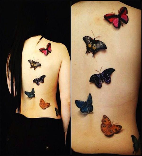 Colorful butterflies with 3D effect