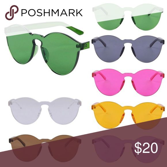 Transparent solid sunglasses bbbBACK ‼️ in stock ❌⭕️ AVAILABLE: 1 PINK; 1 PURPLE; 1 YELLOW/ORANGE; 2 GREEN, 1 BROWN; ❌⭕️ These are the coolest retro solid candy color glasses! Totally solid and sturdy plastic. Frameless sunglasses. $20 a pair or bundle and save🤢‼️TAGS: barbie color rainbow prince princess glasses frameless solid transparent comfort urban outfitters free people american apparel 🍩Purchase and comment the color of your choice !🍩 Accessories Sunglasses