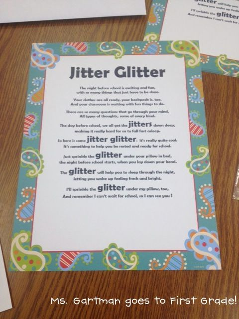 Jitter glitter poem to send home with students after Meet the Teacher.