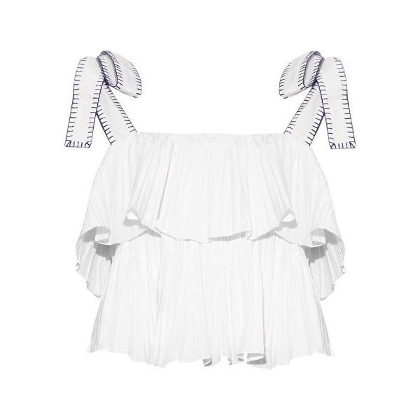 Saloni Jools cropped top (540 BRL) ❤ liked on Polyvore featuring tops, crop top, white, cropped, tanks, summer crop tops, spaghetti-strap top, cut-out crop tops, strappy top and summer tops