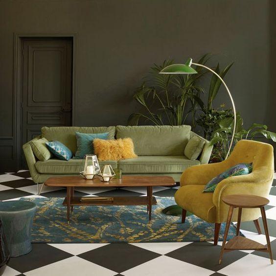 canapé vert cactus, plantes, urban jungle interior, green sofa