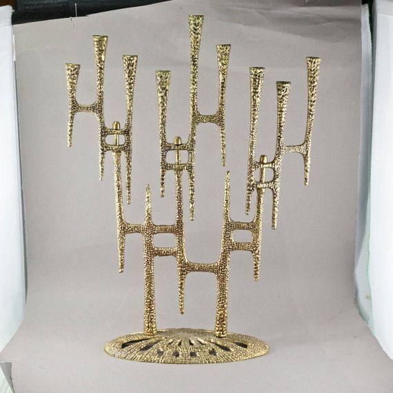 Hanukkah Menorah Wainberg. Kinetic.  Judaica Brass. Vintage Jewish Candle Holder No.2069