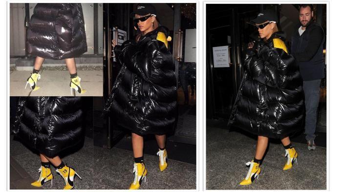Fashion Rihanna - Pelantun Umbrella Ini Kenakan Jaket Hitam Tebal, Kok Mirip…