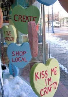 conversation hearts window display - Google Search - cute idea, could be cleaned up a bit