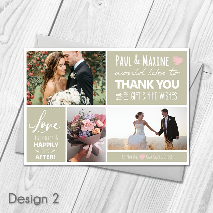 wedding custom thank you cards%0A Personalised Wedding Thank You Cards with Photo   Wedding Cards  u     Envelopes