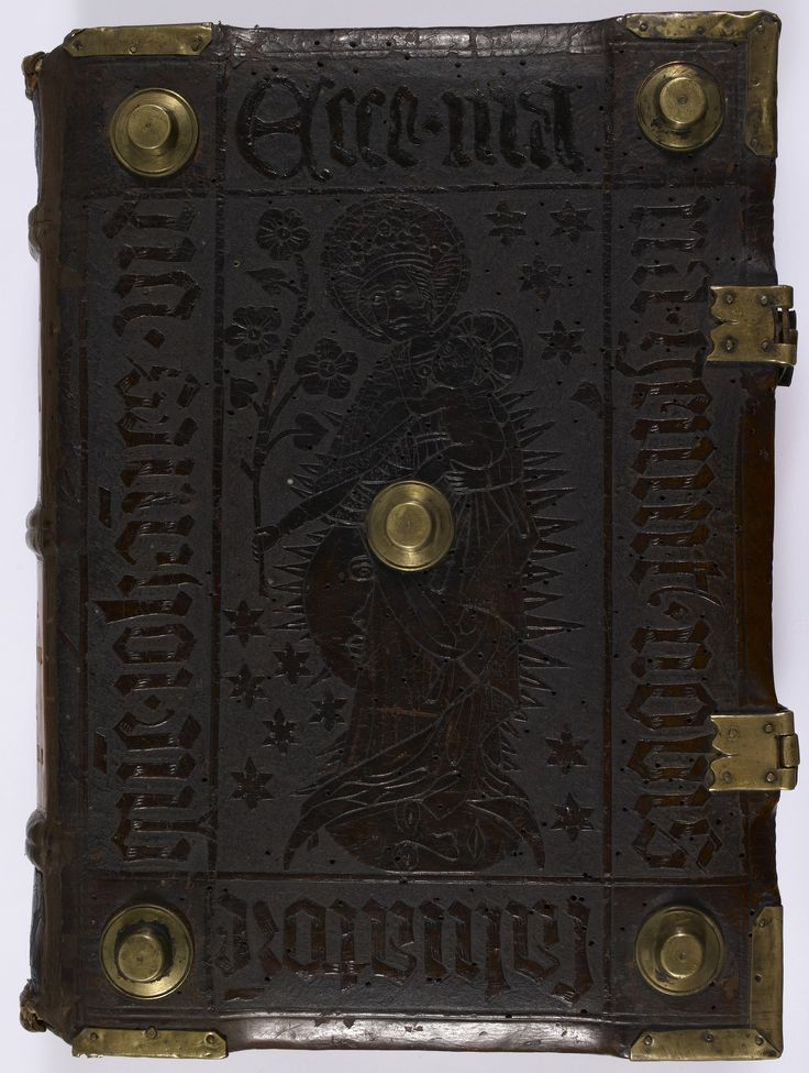 Front cover- embossed leather cover, with brass studs and corner pieces. Historia Scholastica (c.1451) BL Add MS 18972. Photo by Petrus Comestor [CC0], via Wikimedia Commons