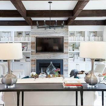 FR Opt if not doing barn doors: Just take plank up to 10 or so feet, finish the top with a white painted or wood stain beam/ ledge (for lighting to attach underneath to wash walls and give more ambient lighting in FR). beams on ceiling. See sketches