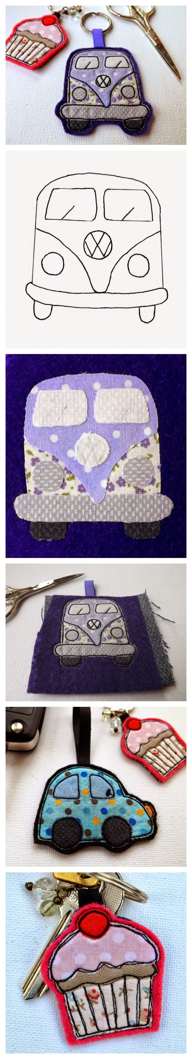 Felt VW Camper Van Keyring with Pattern and Tutorial. Also makes a perfect brooch or bag charm.  Full tutorial at www.sewforsoul.blogspot.co.uk