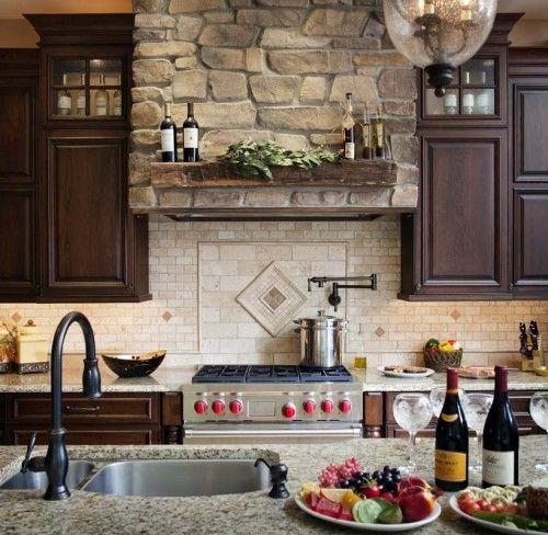 European style inspired kitchen with Hanover pull down faucet