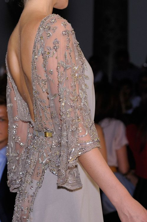 elie saab sheer  shimmery embroidered dress with chiffon shirt.
