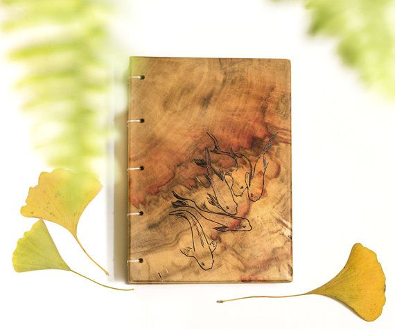 fish notebook wooden covers by Lemnivor on Etsy