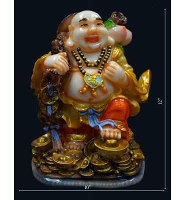LAUGHING BUDHA WITH POTLI @ Rs 1800 Colourfull Big Statue @ Lowest price with free shipping across India www.krafthub.com