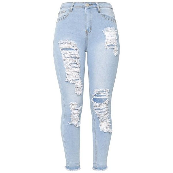 Light Wash Drop Hem Super Ripped Skinny Jean ($40) ❤ liked on Polyvore featuring jeans, bottoms, jean, distressed jeans, blue ripped jeans, denim skinny jeans, light wash distressed jeans and destroyed jeans