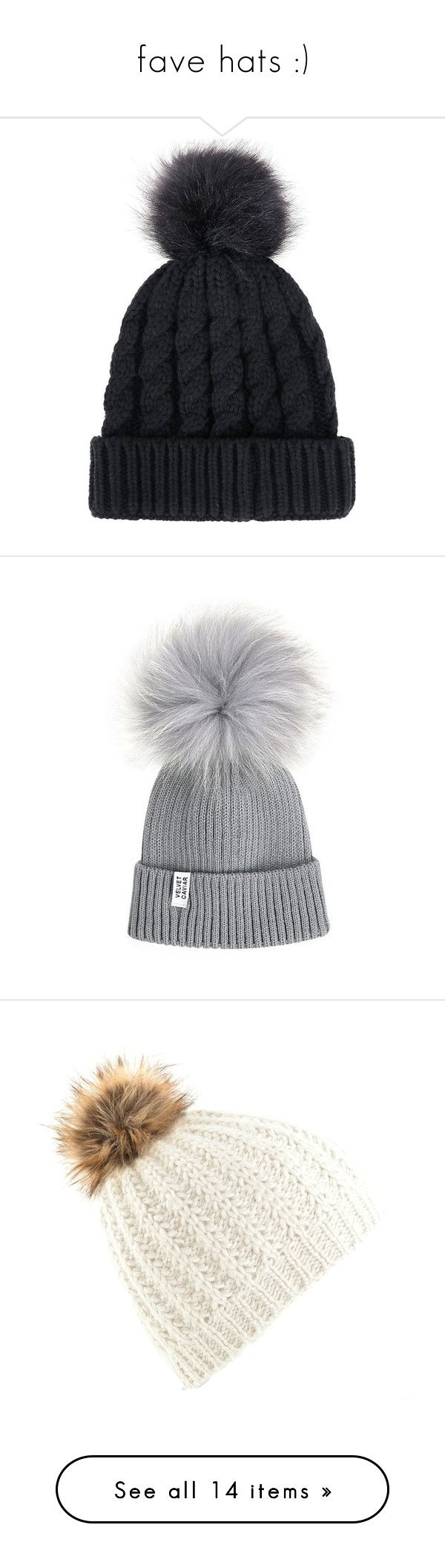 """""""fave hats :)"""" by surfernurd ❤ liked on Polyvore featuring accessories, hats, beanie, pom pom hat, beanie caps, faux fur pom pom hat, faux fur hat, pom beanie, accessories hats and toca"""