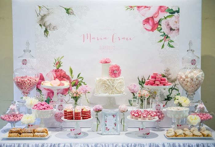 Pink Rose Dessert Table for a Christening via Kara's Party Ideas KarasPartyIdeas.com Printables, cake, decor, tutorials, recipes, favors, de...
