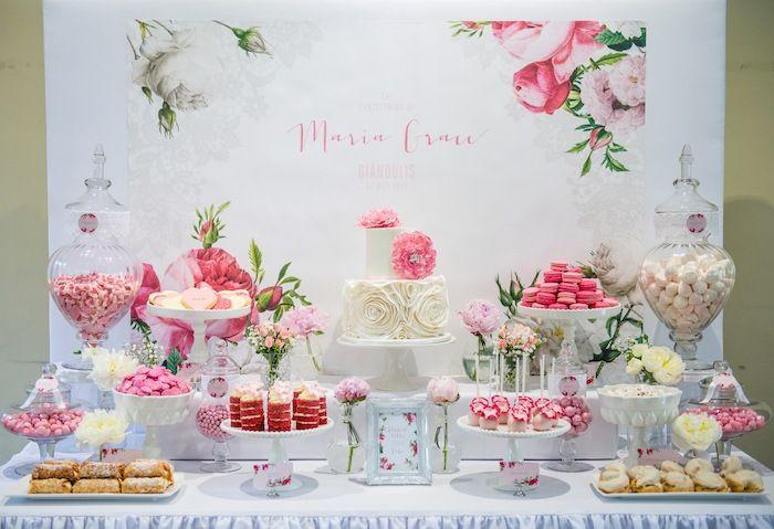 Linda festa vintage floral para bebês