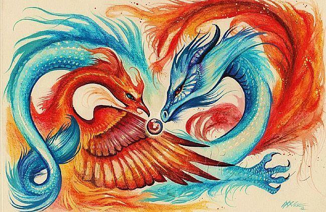 Nico Niemi's amazing depiction of the Dragon and Phoenix admiring Their Greatest Treasure