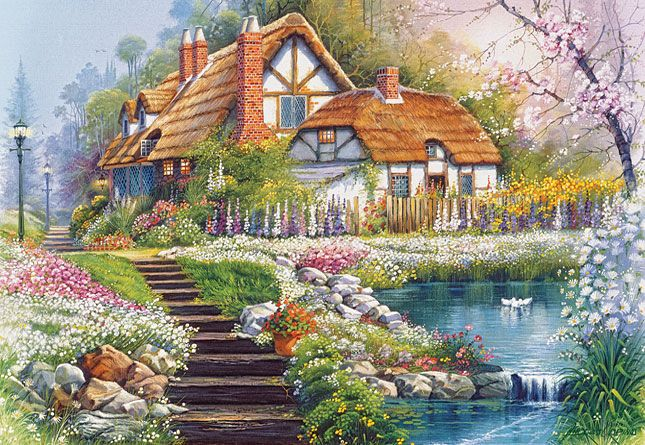 Cottage with Swans by Andres Orpinas