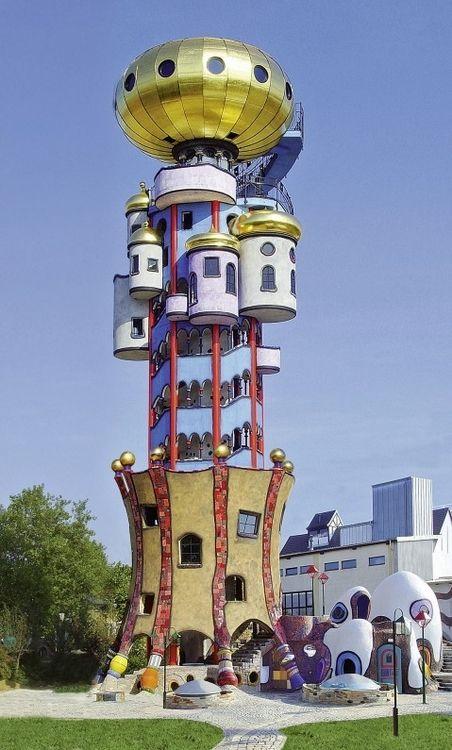 Friedrich Hundertwasser's Kuchlbauer Tower ,Lower Bavaria in Germany.