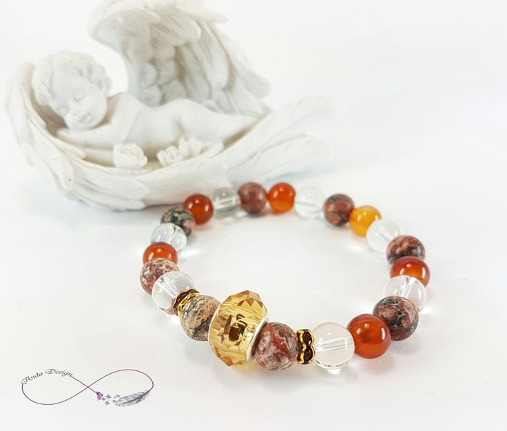Gamestone, bracelet, jasper, carnelian, crystal