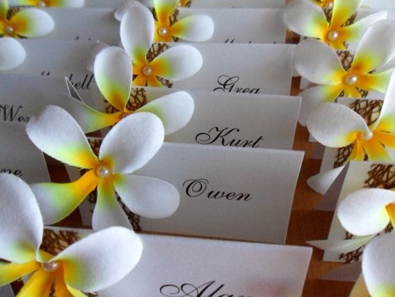 50 Frangipani Place Cards  Very Elegant by MostInvitingByKristi