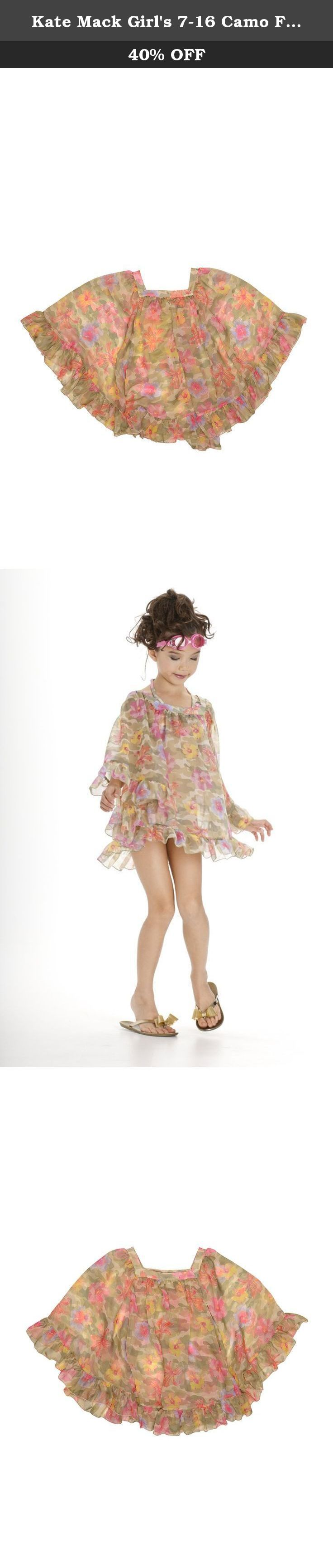 Kate Mack Girl's 7-16 Camo Flower Chiffon Coverup - Size 12, Multi. This free-spirited chiffon coverup works perfectly over the camo-flower swimsuits but will look just as cute with her favorite shorts and jeans!.