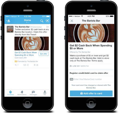 Twitter Offers erweitern die Einsatzmöglichkeiten von Twitter Anzeigen und spööem die Lücke zwischen Online Coupons, Twitter Anzeigen und dem POS schließen.