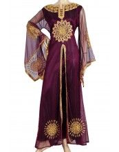 """""""Maia"""" Tulle kaftan with satin slip and gold embroidery...pretty"""