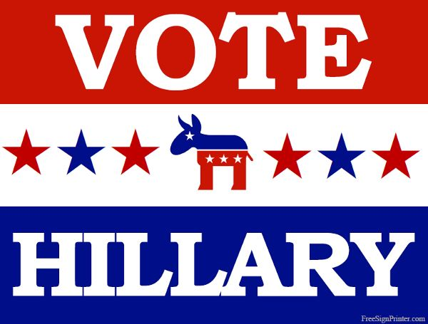 Printable Vote for Hillary Sign - Vote Clinton Sign