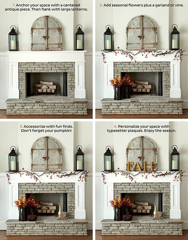 How to Decorate Your Mantel for Fall  I  via howtodecorate.comAntiques Windows, Antiques Focal, Favorite Antiques, Fireplaces Decor, Fireplaces Bring, Decor Fireplaces, Fall Fireplaces, Fall Decor For White Mantle, Fireplaces Stones