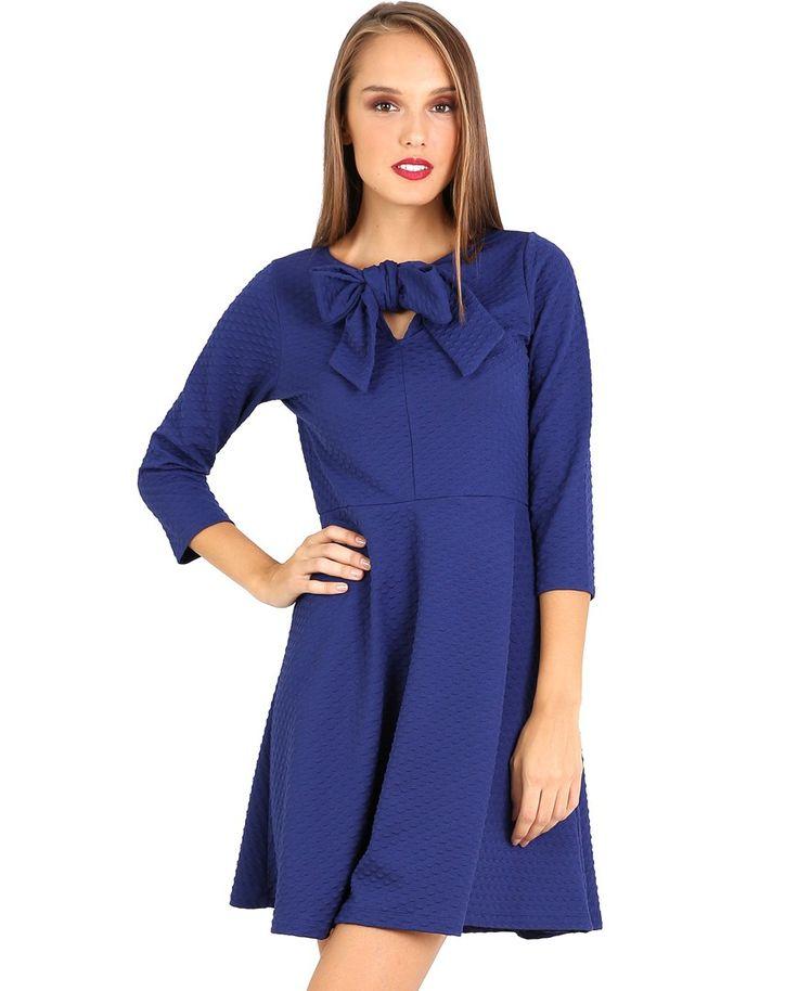 Μπλε ρουά φόρεμα με φιόγκο εμπρός 015CW0103304 μόνο 39.00€ #onsale #style #fashion